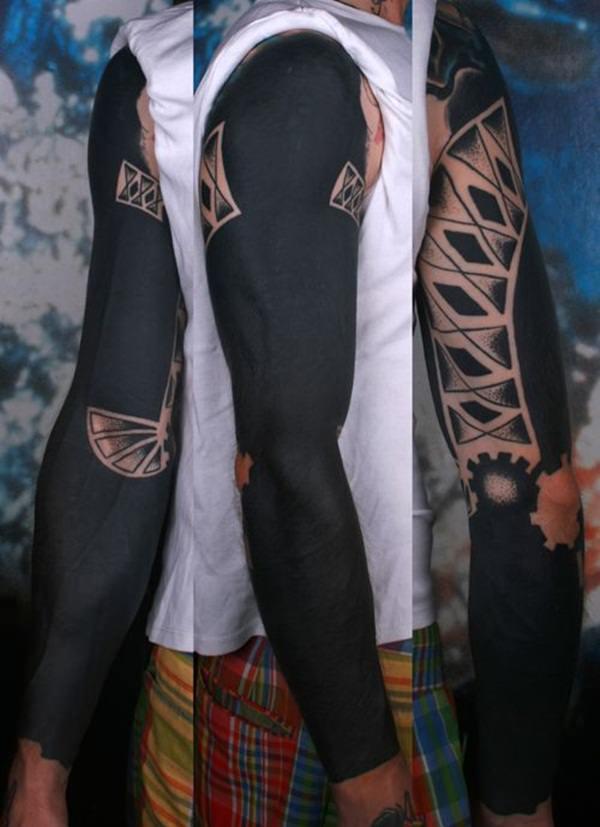 Black And Grey Nature Sleeve Tattoo
