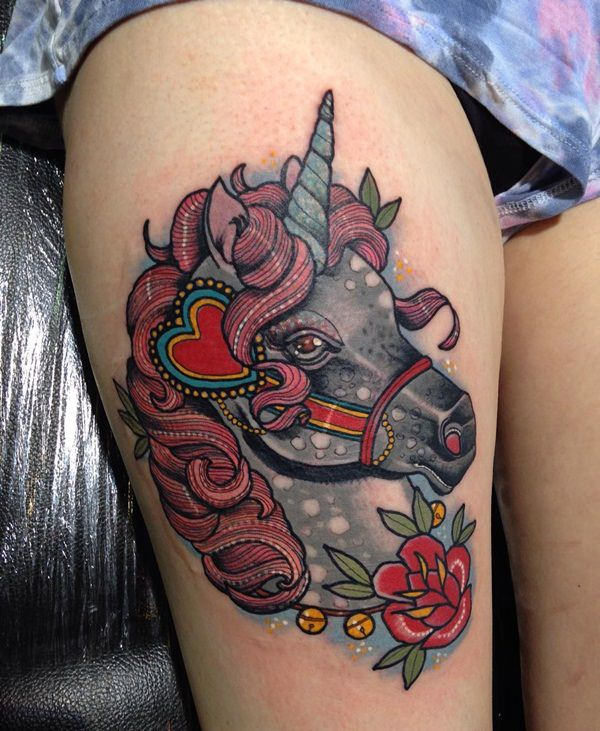 67 intriguing unicorn tattoos designs. Black Bedroom Furniture Sets. Home Design Ideas