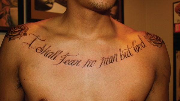 Script Small Chest Word Tattoos For Men