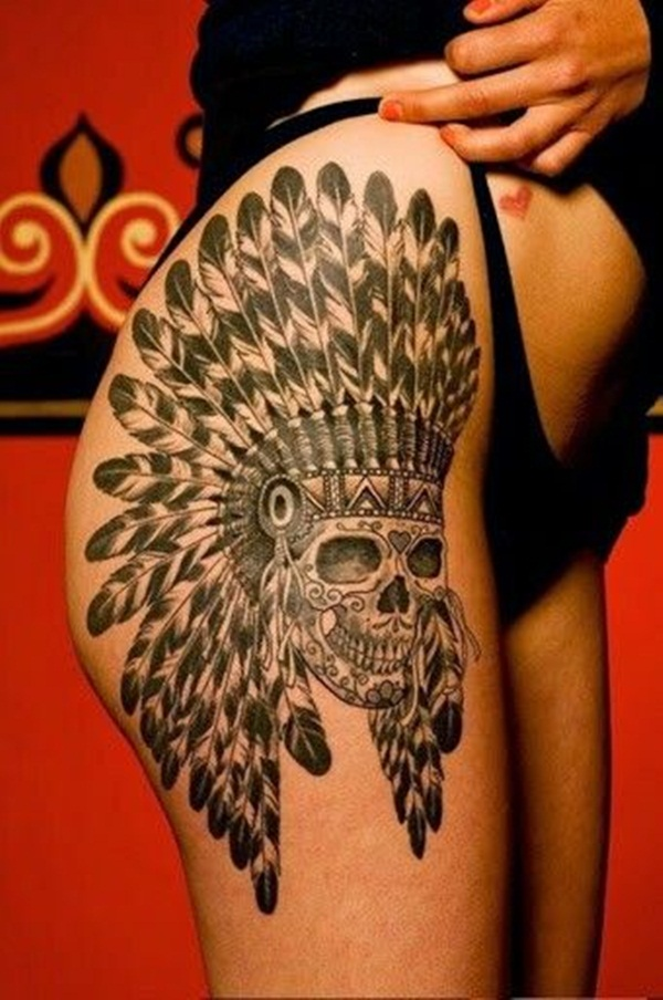 Thigh tattoo designs for girls43