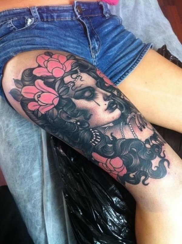 Thigh tattoo designs for girls44