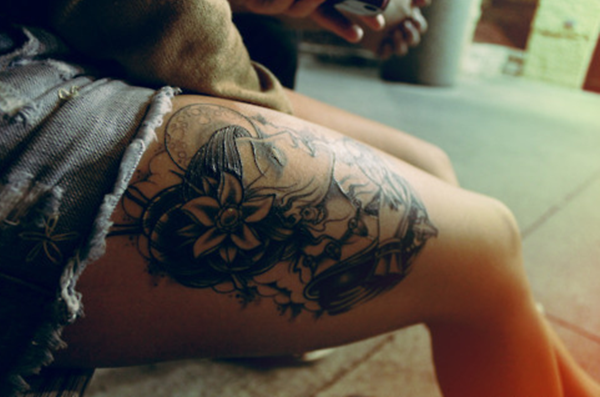 Thigh tattoo designs for girls5