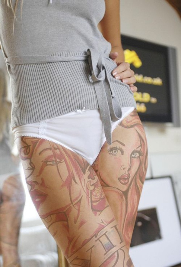 Thigh tattoo designs for girls52