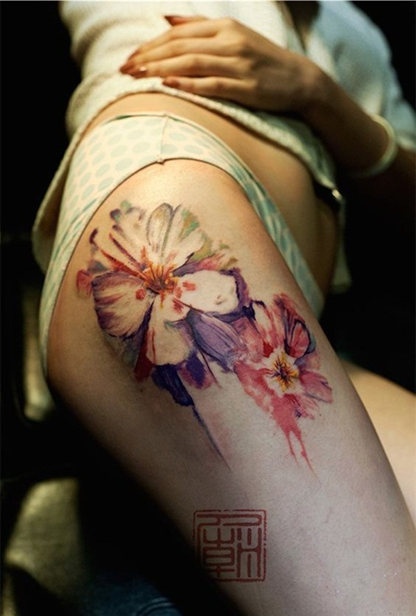 Thigh tattoo designs for girls55