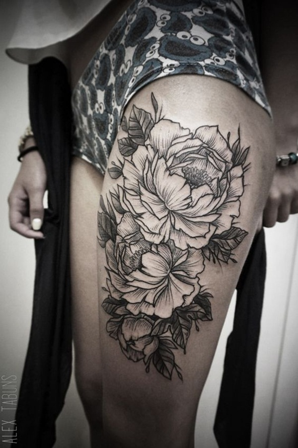 Thigh tattoo designs for girls60
