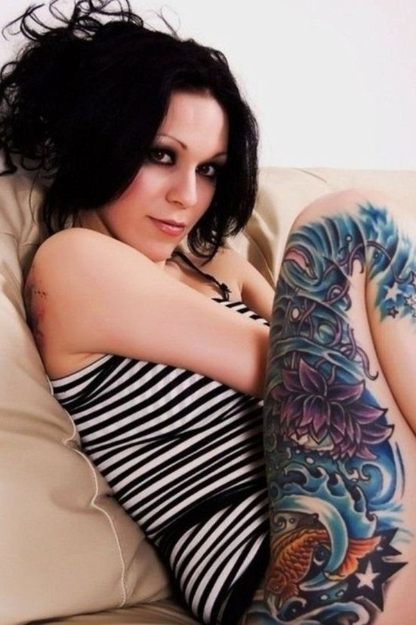 Thigh tattoo designs for girls63