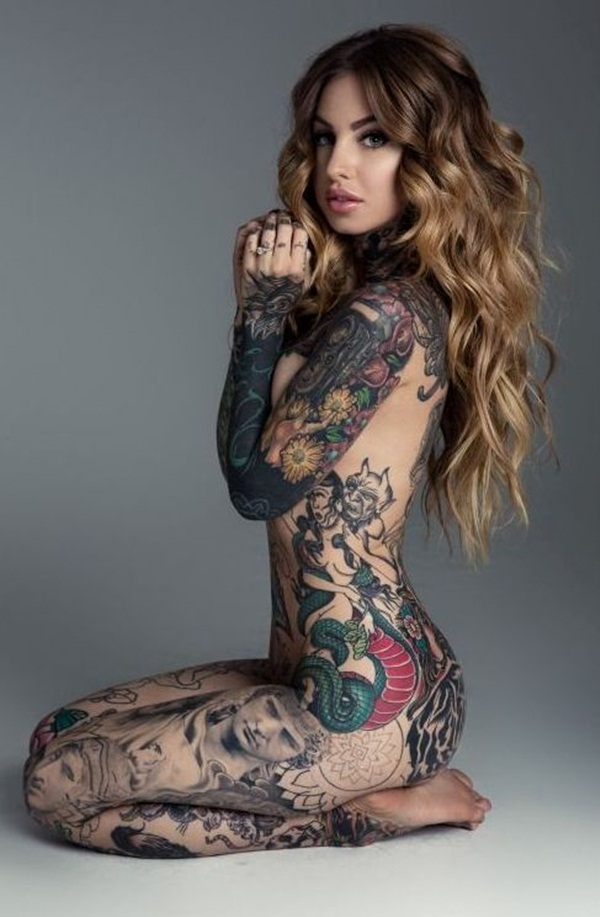 fully tattoo naked woman