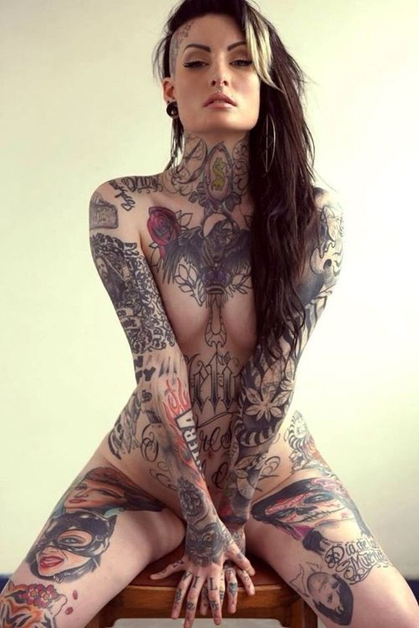 Complete full front body tattoos on naked girls