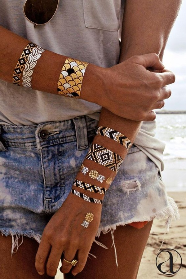 metallic tattoo designs for women35