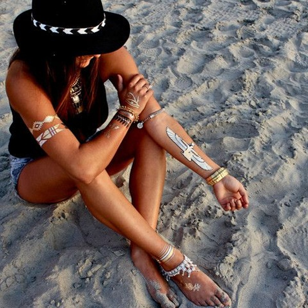 metallic tattoo designs for women50
