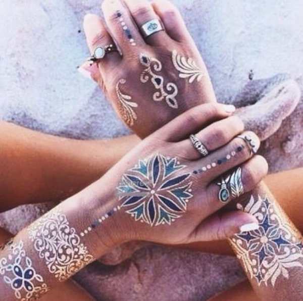 metallic tattoo designs for women66
