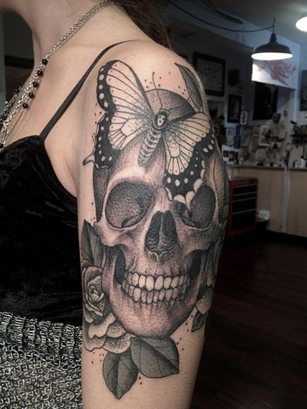5e5bd228f443d 145+ Cool Skull Tattoos Not Only For Boys!