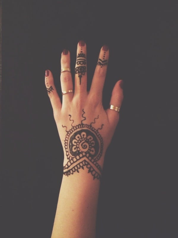 Henna Sun Tattoo: 175+ Beautiful Henna Tattoo Ideas For Girls To Try At