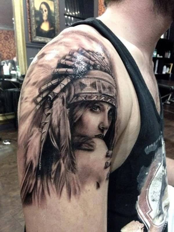 75 amazing native american tattoos for a tribal look. Black Bedroom Furniture Sets. Home Design Ideas