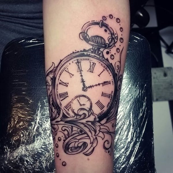 75 stunning antique pocket watch tattoos for your next ink for Pocket watches tattoos