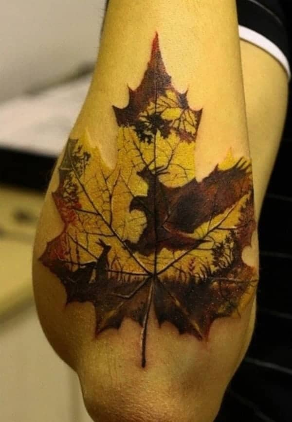 59 daring but cute leaf tattoo designs. Black Bedroom Furniture Sets. Home Design Ideas