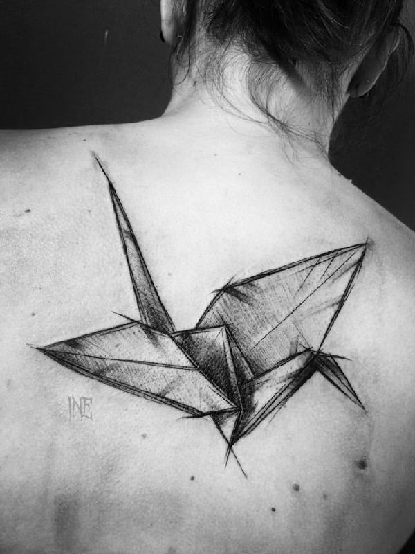 sketch-tattoos-ideasorigami-flying-bird-tattoo