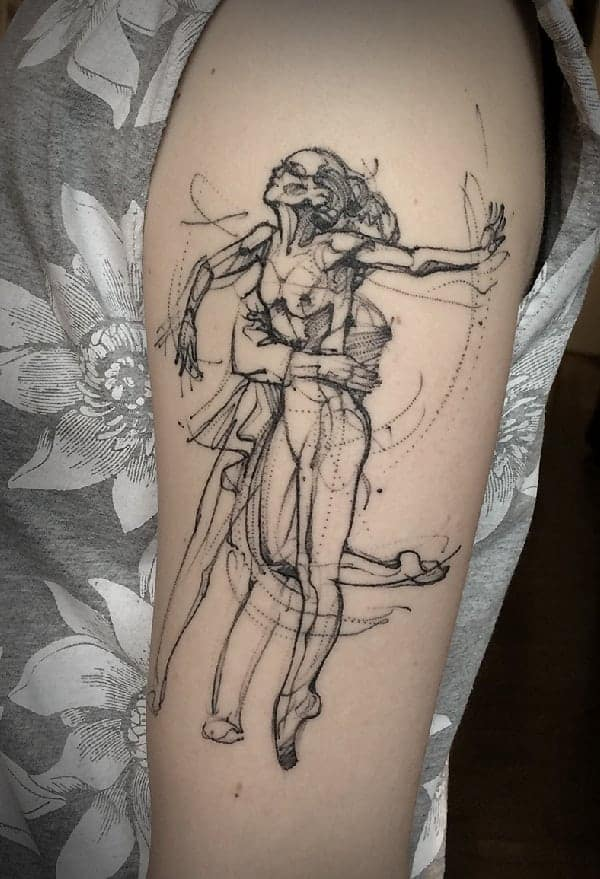 sketch-tattoos-ideasballet-sketchy-at-arm-by-aygul-tattoo