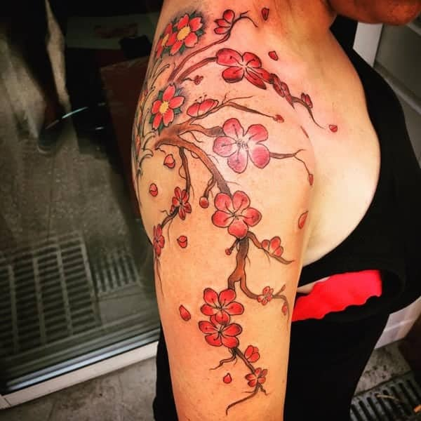 70 of the prettiest cherry blossom tattoos. Black Bedroom Furniture Sets. Home Design Ideas