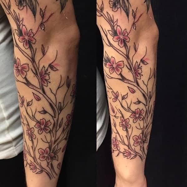 c7fc738143649 If you are looking for a sleeve design, then look no further than this cherry  blossom tattoo.