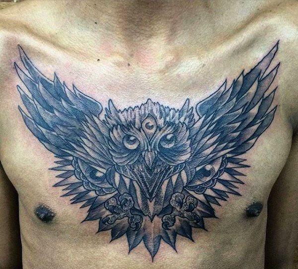 White Owl Chest Tattoo