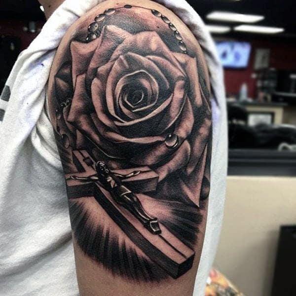 Roman catholic sleeve tattoos