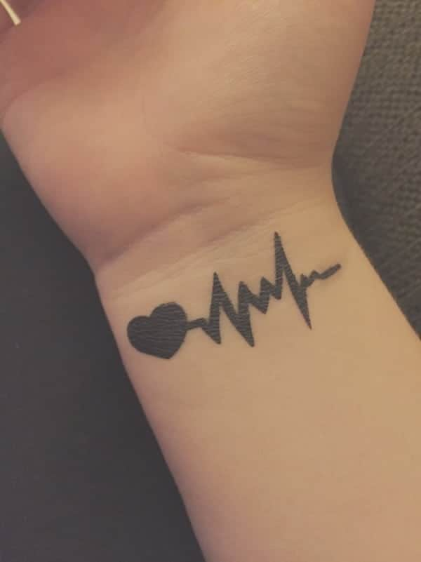 7a2c5ea90 ... some distinct features with the heartbeat tattoo design can in a great  way impact the overall outlook. The design below looks amazing yet very  simple.
