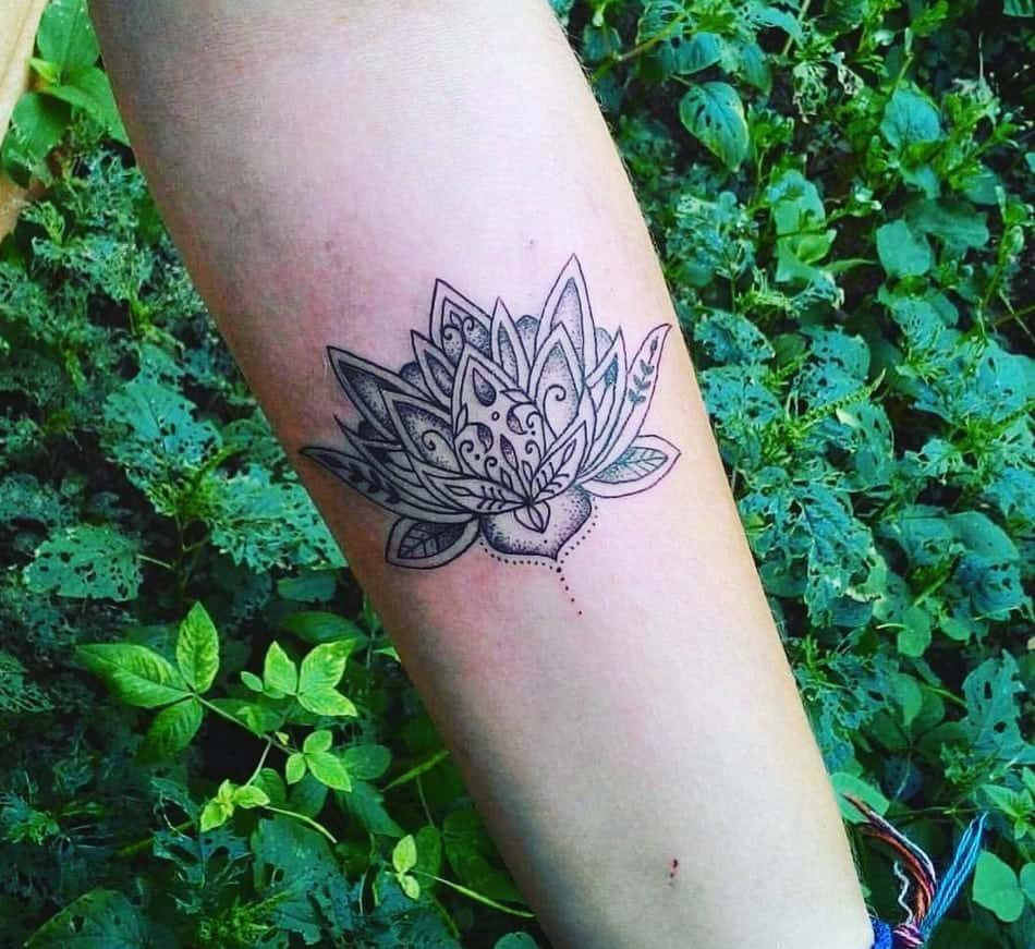 155 trendy lotus flower tattoos that you dont want to miss lotus flower arm tattoo with dot work izmirmasajfo