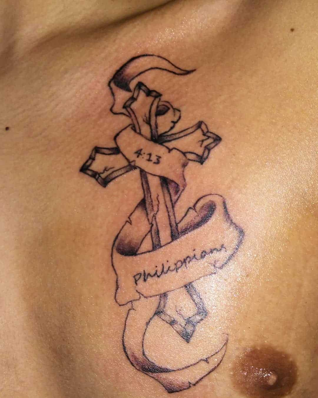 b5e8742824471 The combination of Bible verse with the tattoo enhances the meaning  associated with the design. If you are considering wearing a huge cross  tattoo then ...