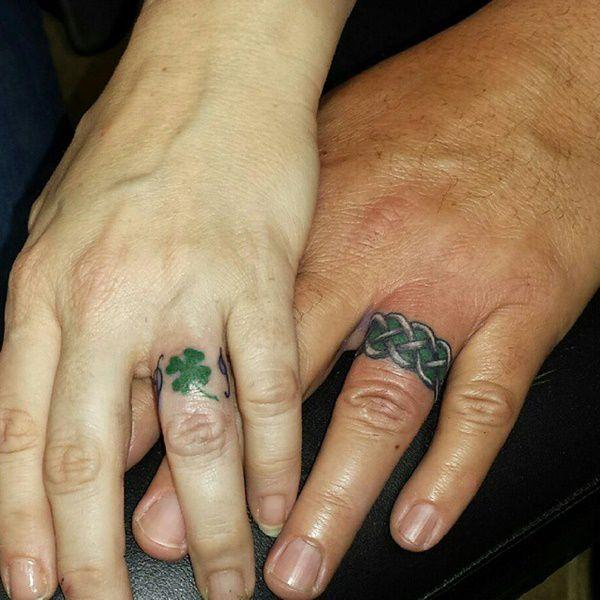 7872c1d22 Love can be demonstrated in very subtle ways like in sharing adorable wedding  ring tattoos.