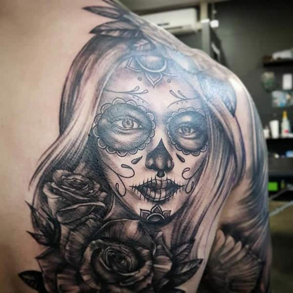 00631be2428c9 184 Day of the Dead Tattoos that Push the Little Daisies