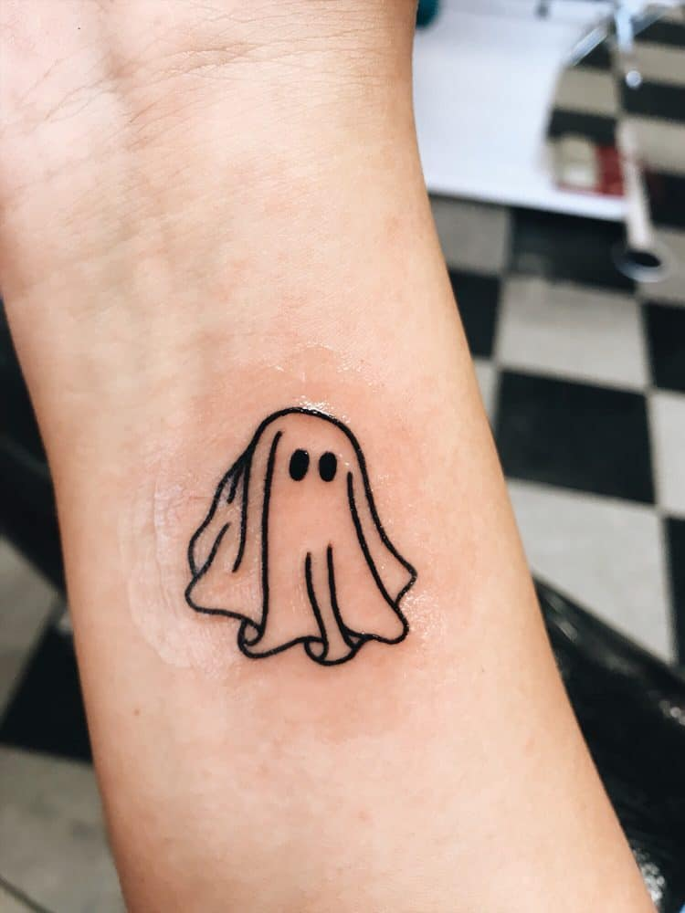 d9080bbea We'll start with this ghost design. In recent years there has been more of  a movement towards smaller, minimalist style tattoos, rather than the  traditional ...