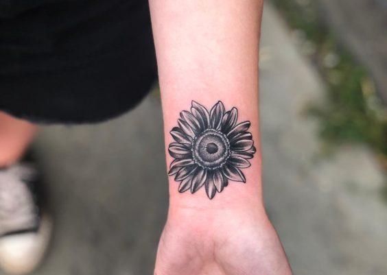 b756093e2de61 144 Sunflower Tattoos That Will Brighten Up Your Life
