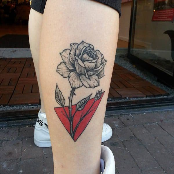 leg rose tattoo